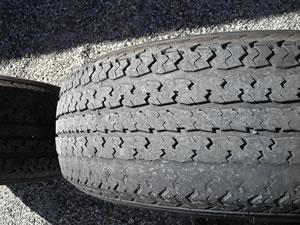 Worn trailer tire